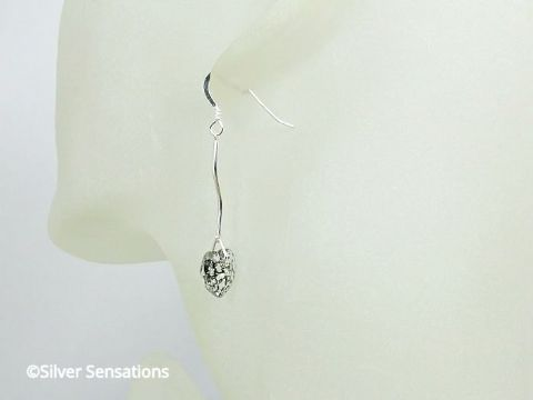 Long Clear & Black Swarovski Crystal Heart Earrings With Solid Sterling Silver Curved Bars
